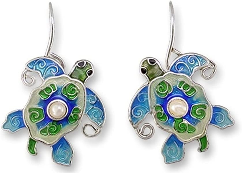 Amazon com: Sea Turtle Enameled Silver Plated Pearly Wire Earrings