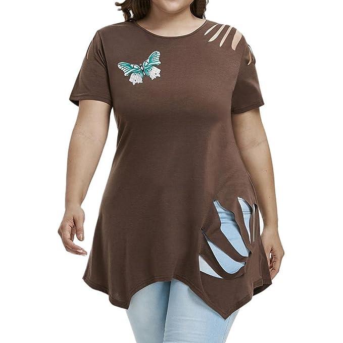 ade86e32edc2 XXYsm Damen Tops Blusen Oberteil Sommer Kurzarm Bluse Schmetterling Drucken  T-Shirt Aushöhlen Loch O