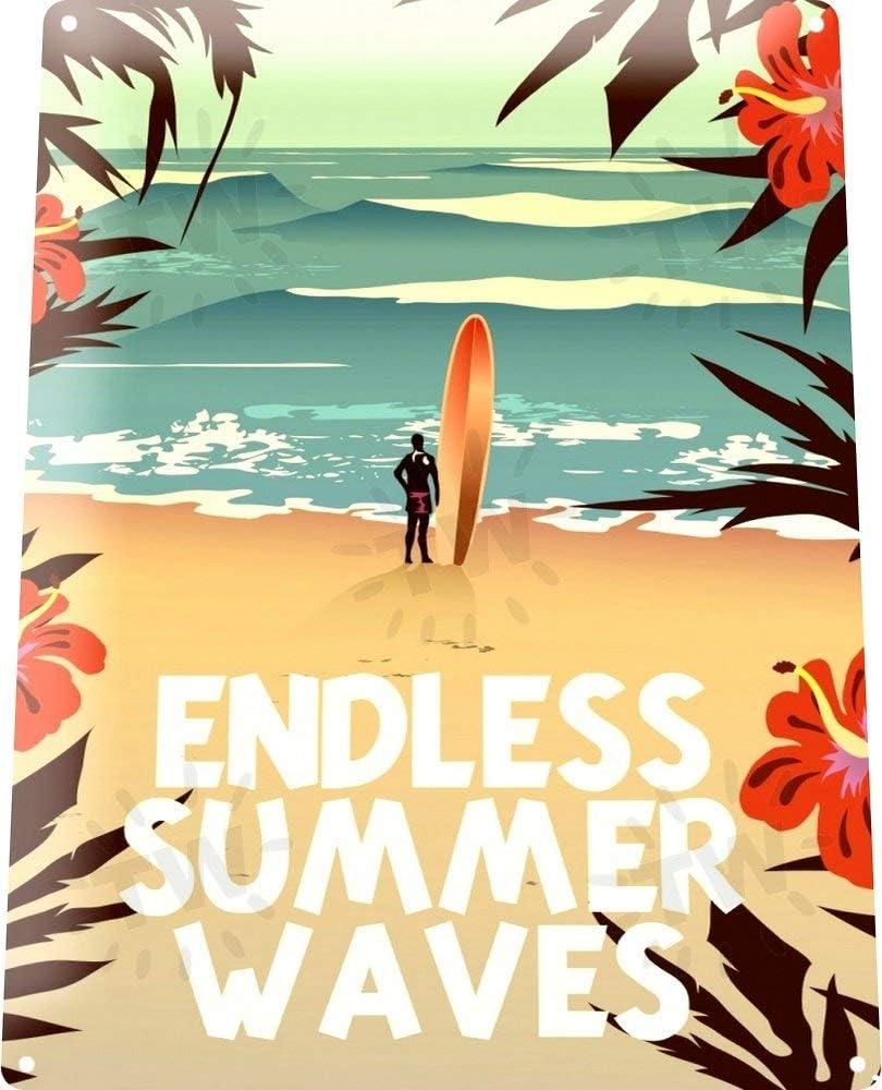 SIGNCHAT Summer Waves Metal Decor Wall Art Surf Shop Beach Bar A631 Metal Tin Sign 8X12 Inches
