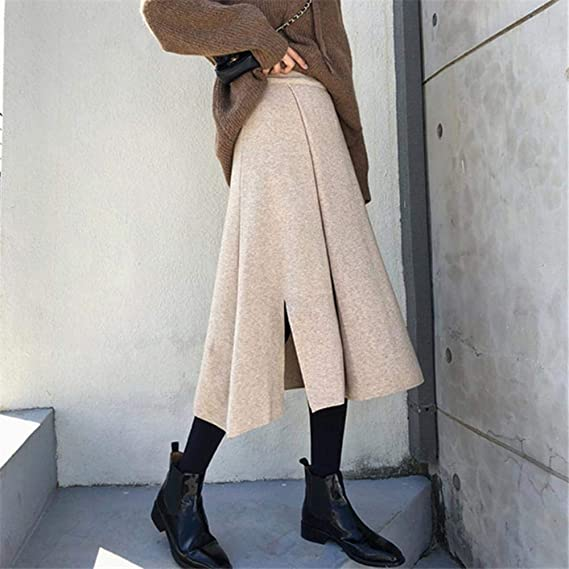 HSDFKD Faldas Midi De Punto Otoño Invierno para Mujer Falda Media ...
