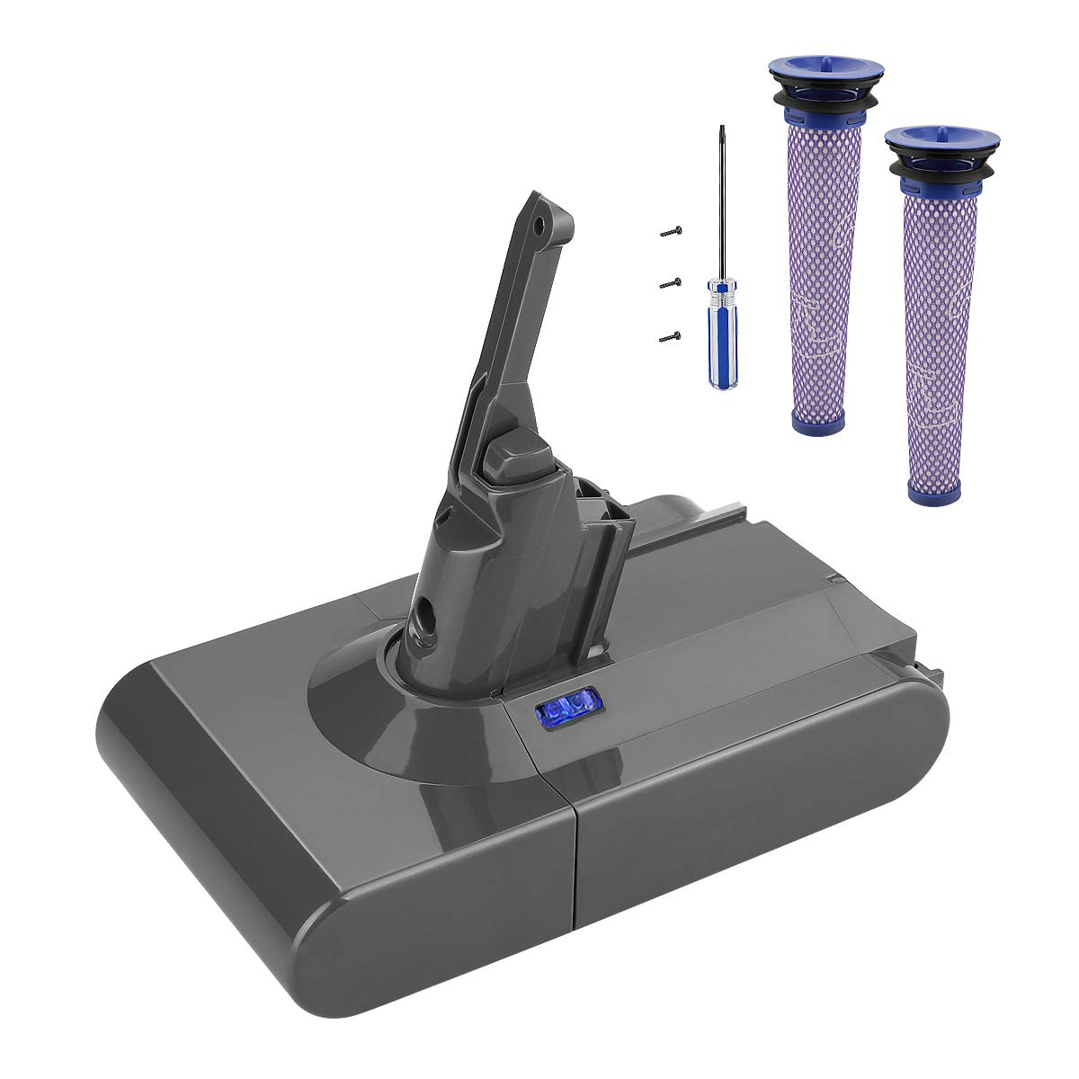 Powilling 21.6V 3.5Ah Lithium-Ion Battery Replacements for Dyson V8 Cordless Handheld Vacuum Dyson V8 Absolute(with Dyson Vacuum Parts, HEPA Post&Pre-Filter V8 Kit, Dyson V8 Animal Replace Filter Kit) by Powilling