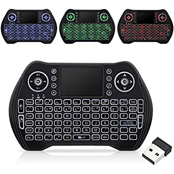 Wireless Keyboard with backlight,Mini Remote Keyboard with LED Backlit 2.4GHz Portable Rechargable Keyboard with Touchpad Mouse for Android TV BOX,PC,PAD,XBOX
