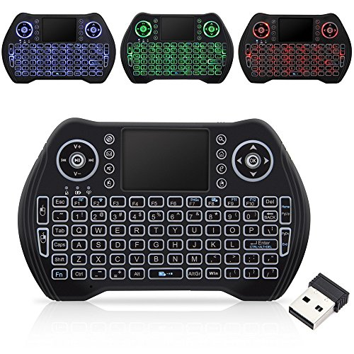 Wireless Keyboard with Touchpad Mouse, Mini Remote Keyboard with LED Backlit Rechargable and Portable 2.4 GHz for Android TV BOX, HTPC, XBOX