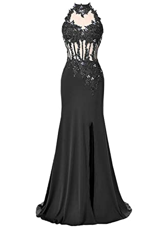 100f063a07 DYS Women s Mermaid Prom Dress High Neck Lace Appliques Nude Tulle Hole Back  Black ...