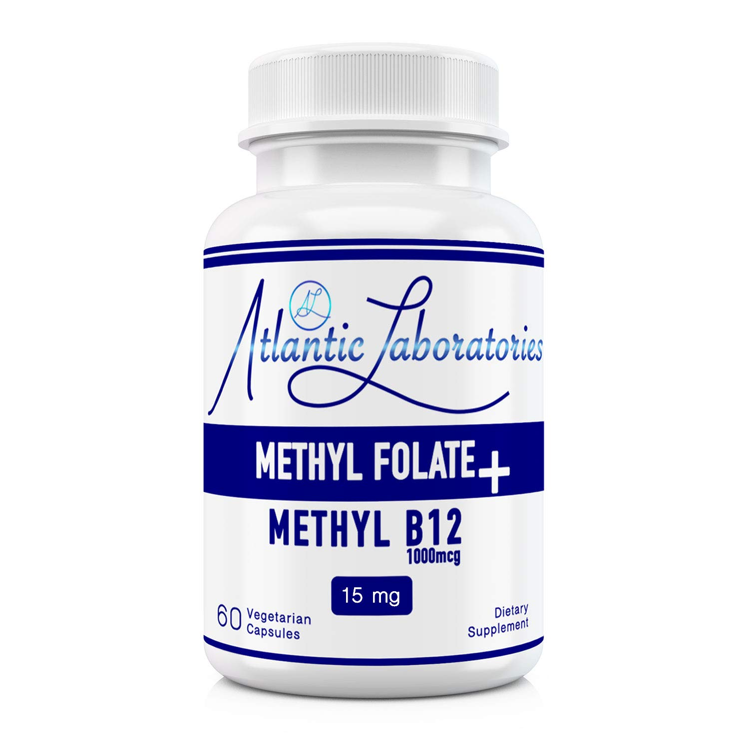 Atlantic Laboratories L-Methylfolate 15 mg + B Complex Cofactors & Essential Amino Acids - Active Folate, Methylated B12, B6 and Glycine for Brain, Heart & Fetal Health, 60 Count (2 Month Supply) by Atlantic Laboratories