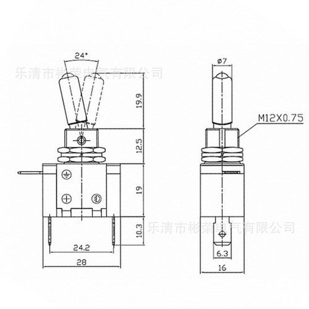 Sharplace Schalter mit LED-Anzeigeleuchte und Abdeckung für 12V Auto ...