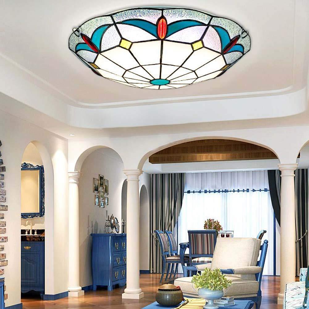 ティファニースタイルの天井灯、ヨーロッパのクリエイティブラウンド/ステンドグラスの天井ランプ、地中海の引込められたスポットライト用リビ   B07RYY6TN2