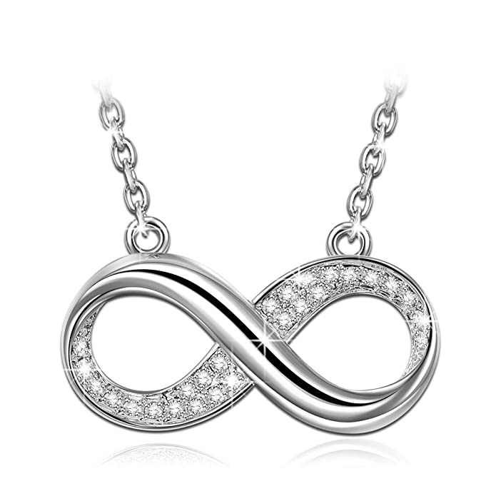 LADY COLOUR Infinity Pendant Necklace for Women with Crystals from SWAROVSKI® - Allergen-free and Passed SGS Inspection MAvEKP9