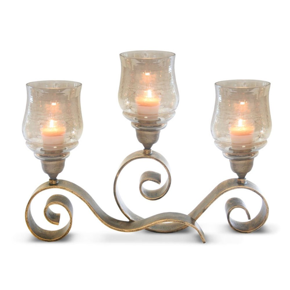 Pilgrim Home and Hearth 17506 Mayfair Candelabra Candle Holder, Distressed Gold