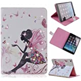 Case for Apple iPad 2 iPad 3 iPad 4, Cover for Apple iPad 2 iPad 3 iPad 4, Credit Case Cover for Apple iPad 2 iPad 3 iPad 4, Bling Bling Rhinestone Colorful Pattern Holster Series for PU Leather Smart Cover . Premium Elegant Case with Auto Waking up and Sleeping FunctionColor Print Printing 3D Bling Apple iPad Case + 1 Free Stylus Touch Pen + 1 Free Screen Protector + 1 Free Cleaning Cloth (Apple iPad 2nd / 3rd / 4th, Butterfly girl - (left))