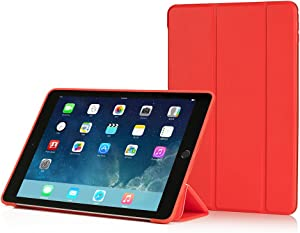 RUBAN iPad Air Case (2013 Release) - Ultra Slim Lightweight Smart Cover Case with Anti-Scratch Non-Slip Flexible Soft TPU Back Cover with Auto Sleep/Wake for Apple iPad Air/iPad 5, Red
