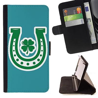 FJCases Herradura Trébol Suerte (Turquesa) Carcasa Funda Billetera con Ranuras para Tarjetas y Soporte Plegable para Samsung Galaxy S9
