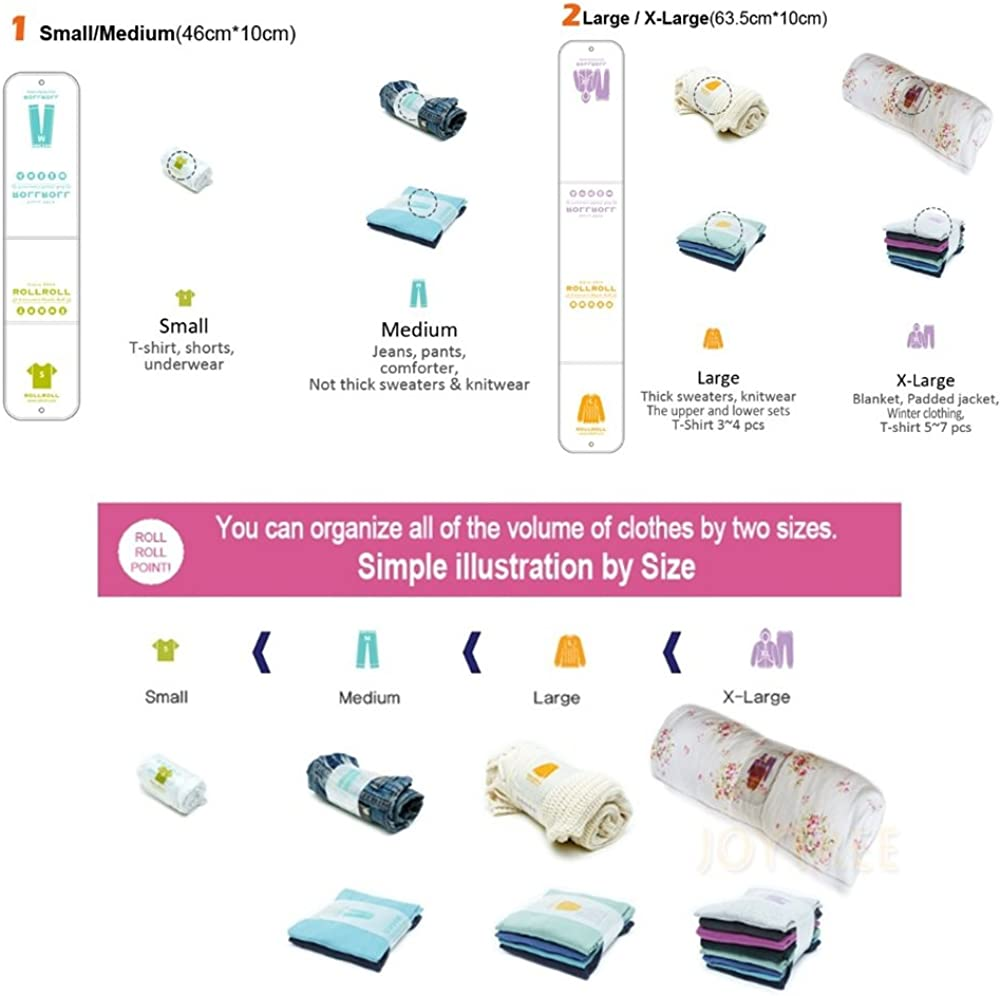 Large 5 pcs ROLLROLL Clothes Smart Storage Clothes Band Small 5 pcs