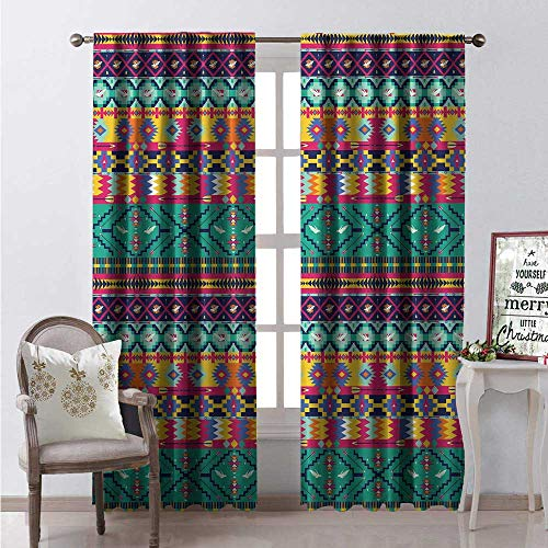 Hengshu Aztec Thermal Insulating Blackout Curtain Horizontal Tribe Borders Collection Birds and Arrow Primitive Lifestyle Art Blackout Draperies for Bedroom W72 x L108 -