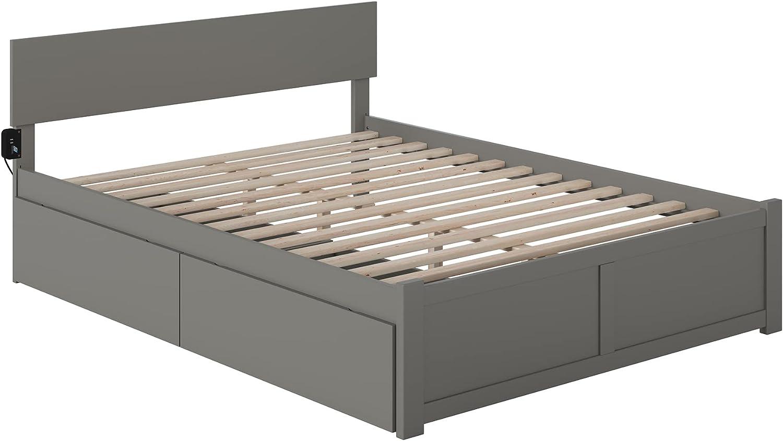 Atlantic Furniture Orlando Platform Bed with 2 Urban Bed Drawers, King, Grey