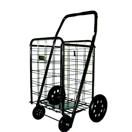 fa6de8546224 Utility Cart with Wheels Rolling Folding Kitchen Shopping Laundry Home  Grocery Shopping Cart Collapsible Portable Extra Large Heavy-Duty Metal  Steel ...