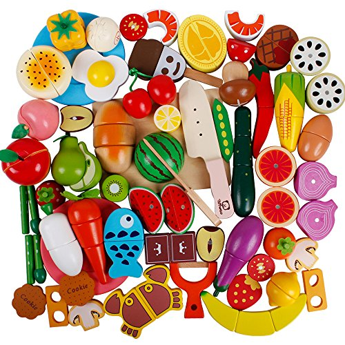 Cutting Food Set (51Pcs Play Food Set for Play Kitchen Wooden Magnetic Fruits and Vegetables Pretend Cutting Toys Educational Learning Kitchen Set for Kids Toddler Boys Girls)