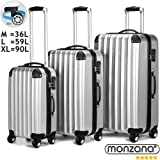 Monzana 3tlg. Hartschalenkofferset Bright Hartschalenkoffer Reisekoffer Koffer Kofferset Trolley ✔ABS mit PC-Beschichtung ✔gummierte Rolle ✔Alu-Teleskopgriff ✔dreifach Kantenschutz ✔Silber