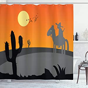 Ambesonne Southwestern Shower Curtain, Cartoon Style Hot Mexico Desert Landscape with Saguaro Cactus and Horse Rider, Cloth Fabric Bathroom Decor Set with Hooks, 70