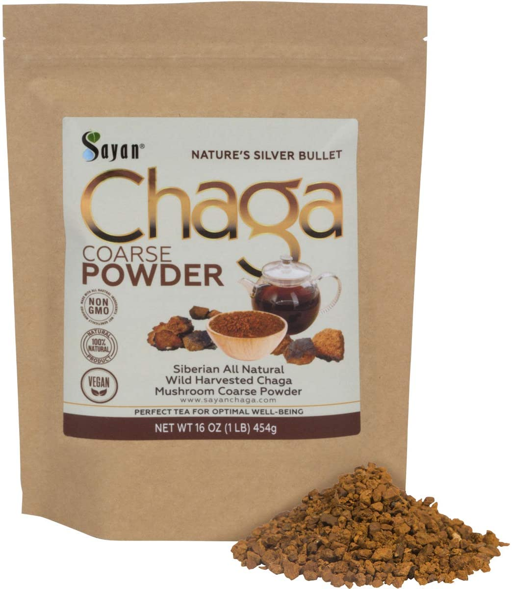 Sayan Siberian Raw Ground Chaga Powder 1 Lbs 454g – Wild Forest Mushroom Tea, Powerful Adaptogen Antioxidant Supplement – Support for Immune System, Digestive Health and Inflammation Reduction