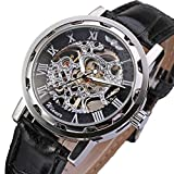 ONEMORES(TM) Classic Men's Black Leather Dial Skeleton Mechanical Sport Army Wrist Watch (Black)