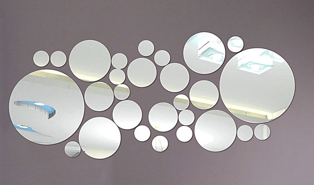 DIY - Do It Yourself New Wall Mirror Stickers, Big and Small Balls, Made of Acrylic Material Like Mirror, Modern Design for Home Living Room Bedroom Kitchen Baby Child Novelty Luxury Crystal Wall Silent Watch Extra Large Clocks, Silver
