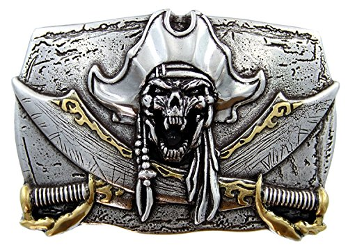 (Pirate Belt Buckle Skull Jolly Roger Antique Silver Gold Crossed Swords)