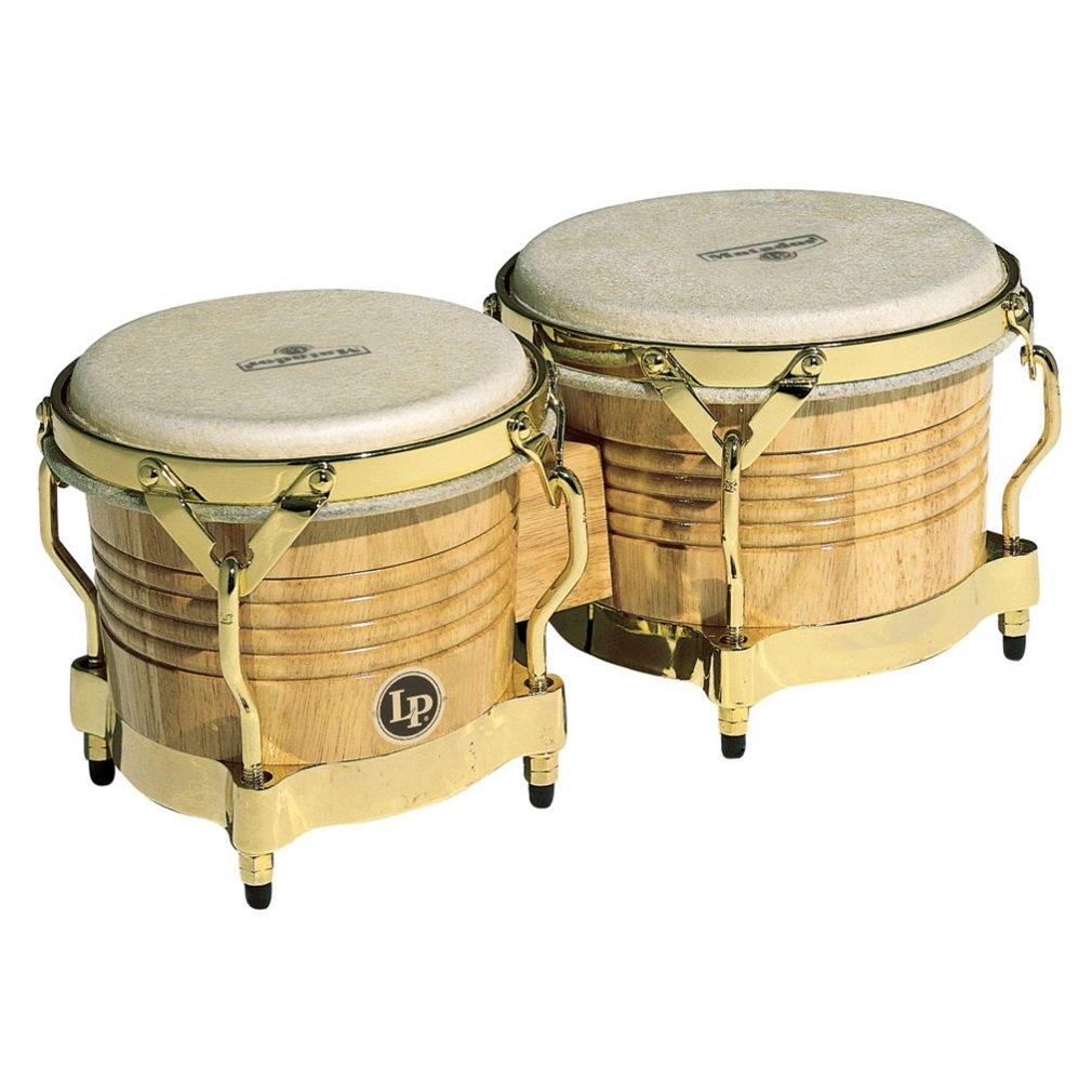 LP Matador M201-AW Wood Bongos (Natural, Gold)