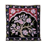 Decorative Handmade Embroidered Multicolor Thai Pillow Covers with floral and animal design (Throw Toss Cushion Covers Case Cushion Cover for Sofa Couch Chair Bed Hmong Tribal) (Black/pink/green)