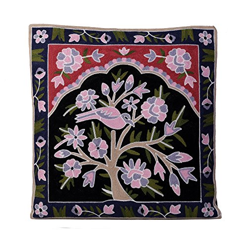 Decorative Handmade Embroidered Multicolor Thai Pillow Covers with floral and animal design (Throw Toss Cushion Covers Case Cushion Cover for Sofa Couch Chair Bed Hmong Tribal) (Black/pink/green) by ARTIIDCO