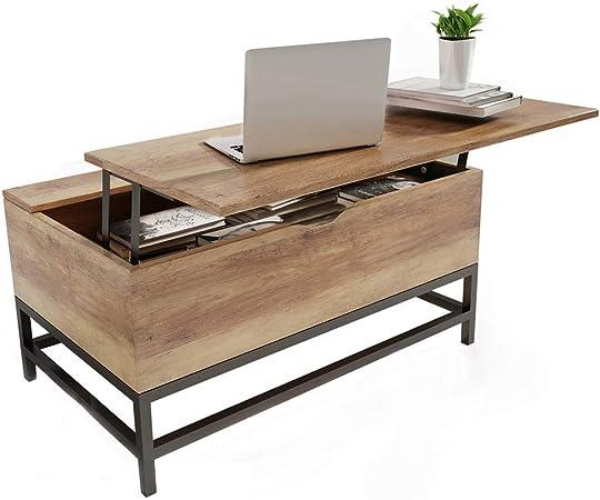 happy home table basse avec plateau de rangement avec rangement 2 compartiments de rangement caches