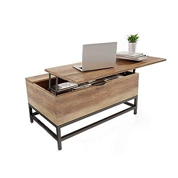 Attirant Happy Home Table Basse Avec Plateau De Rangement Avec Rangement 2  Compartiments De Rangement Cachés