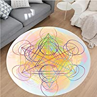 Nalahome Modern Flannel Microfiber Non-Slip Machine Washable Round Area Rug-eometrty Decor Psychedelic Flower of Life with Modern Hallucinatory Hexagon Artwork Multi area rugs Home Decor-Round 32