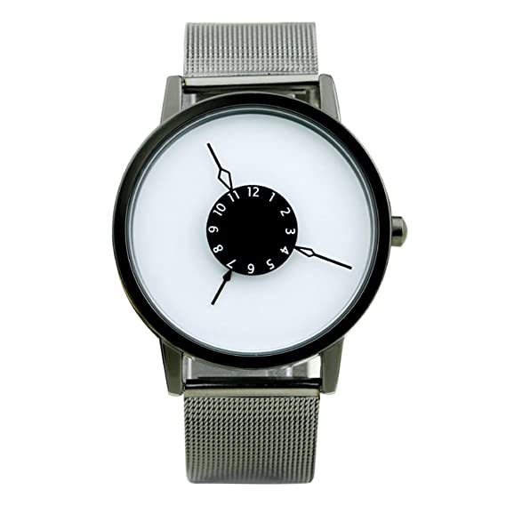 relojes de segunda mano creativa de subversión/Perspectiva única/Invertida puntero del reloj/reloj de pulsera de acero tejida-H: Amazon.es: Relojes