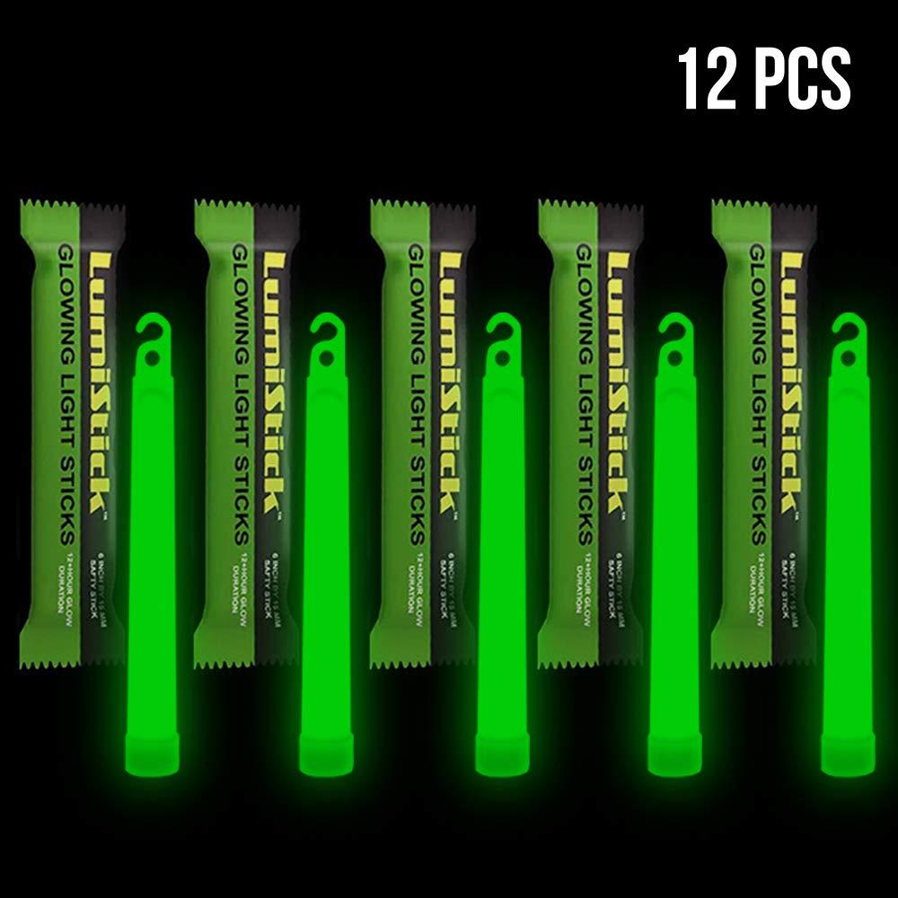 Lumistick 6 Inch Emergency Glow Sticks   15mm Thick Flat Bottom Illuminating Light Sticks   Kids Safe, Waterproof & Non-Toxic Light Up Neon Sticks for Camping & Hiking (Green, 12 Glow Sticks)