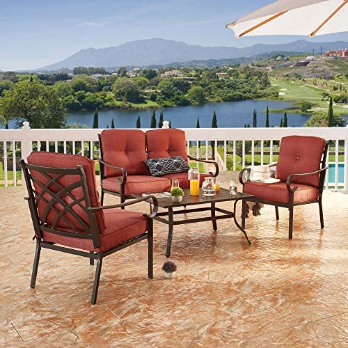 LOKATSE HOME 4-Piece Patio Cushioned Furniture Outdoor Bistro Conversation Set