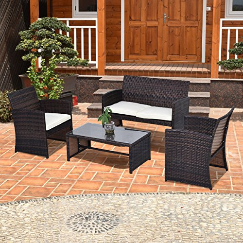 Tangkula 4 Piece Outdoor Patio Sofa Set Lawn Garden Outdoor PE Rattan Wicker Furniture Sets (Brown) by Tangkula
