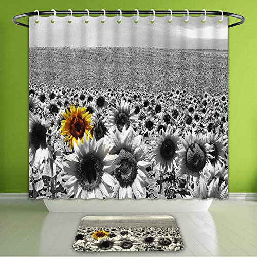 Waterproof Shower Curtain and Bath Rug Set Modern Decor Sunflower Field Black and White with A Single Yellow Flower Spring Landscape Image Bath Curtain and Doormat Suit for Bathroom 60