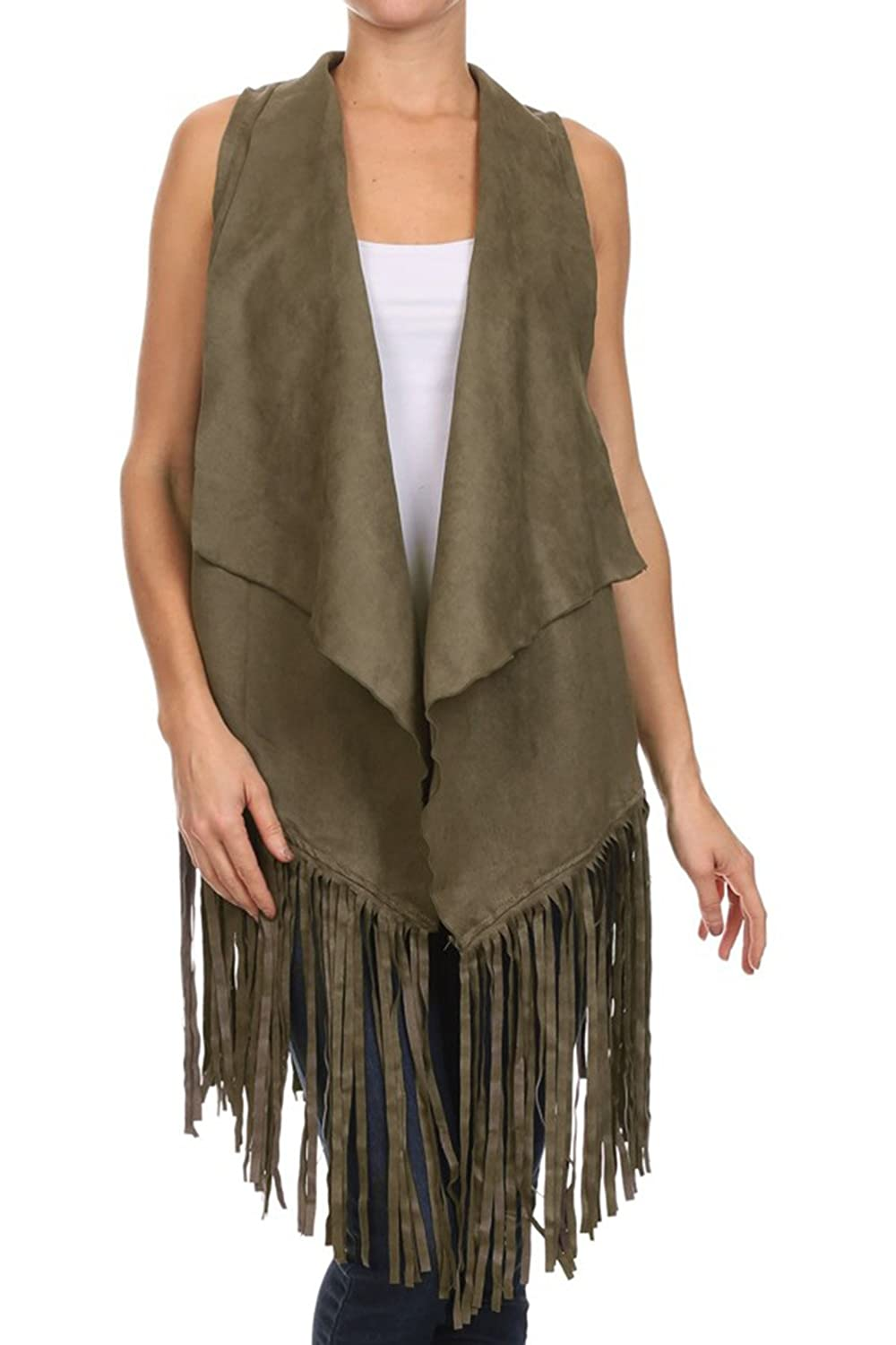 Solution Clothing Bangbangusa Womens Long Fringed Cardigan Vest T7028