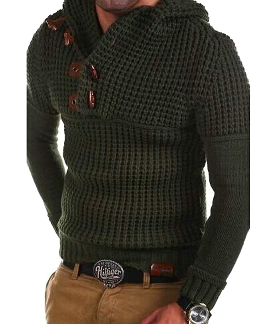 Generic Mens Slim Knitted Ribbed Buttons Turtleneck Pullover Sweaters