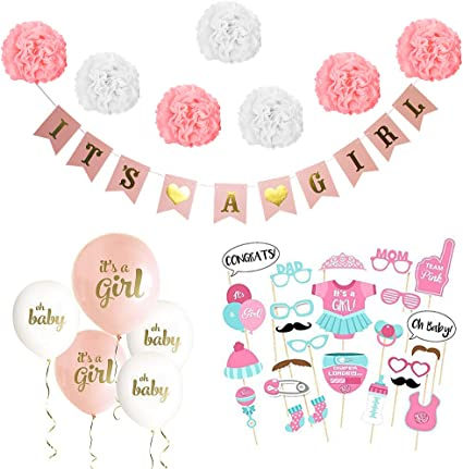 Amazon.com: Kit de decoración de baby shower para niña ...