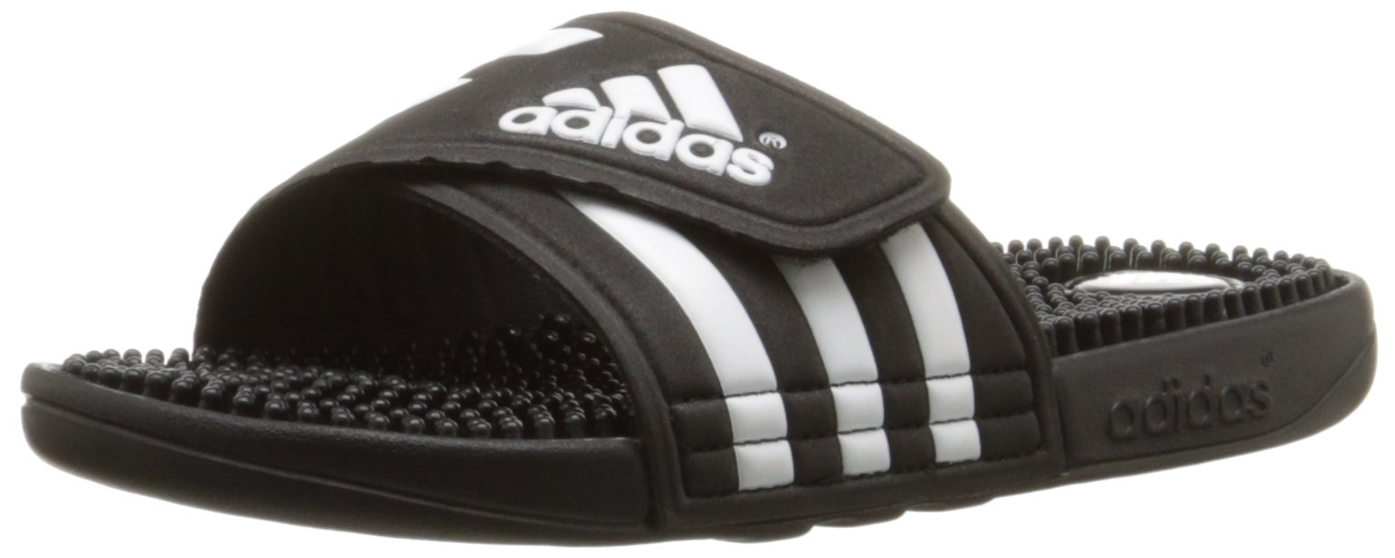 adidas Women's adissage Slide,Black/Black/Running White,8 M US