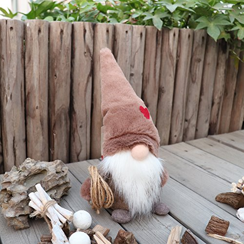Handmade Christmas Gift - Amazlab Swedish Christmas Santa Gnome Plush Doll, Handmade Scandinavian Tomte Nordic Nisse Sockerbit Elf Dwarf Decoration, Christmas Party Gifts,Brown, 11 Inch