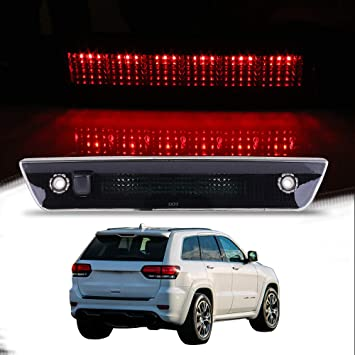 55157397AD,923-216 122573-5210-1830113241 CCIYU High Mount Stop Lights Full Rear LED 3RD Third Brake Tail Light Replacement fit for 2005-2010 Jeep Grand Cherokee Smoke
