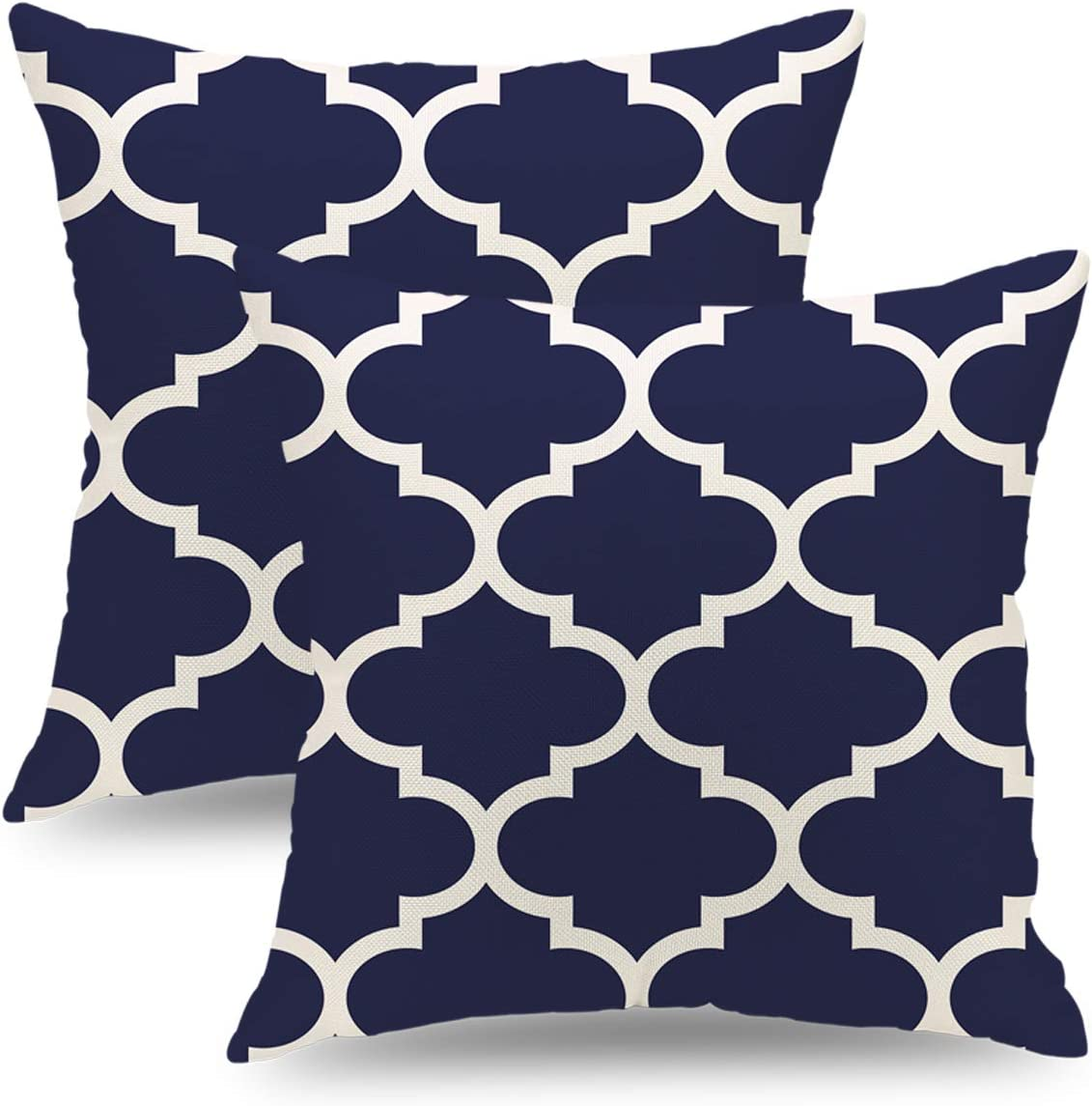 QIQIANY Set of 2 Outdoor Pillow Covers 18 x 18 Inch Navy Blue Decorative Modern Farmhouse Throw Pillow Covers Square Pillow Covers Cushion Case Home Decor for Living Room Patio Couch Chair