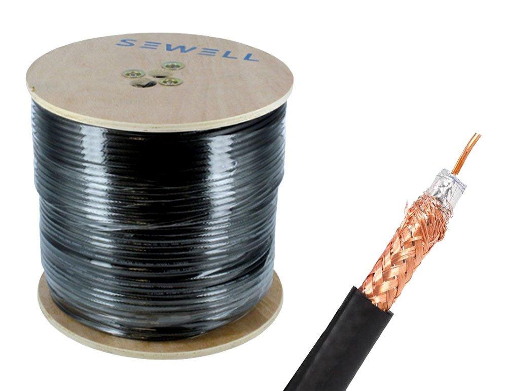 Sewell Direct SW-30081 RG59 Bulk Cable, CCS, Black, 95% Braid, Dual Shielding, 500' Spool