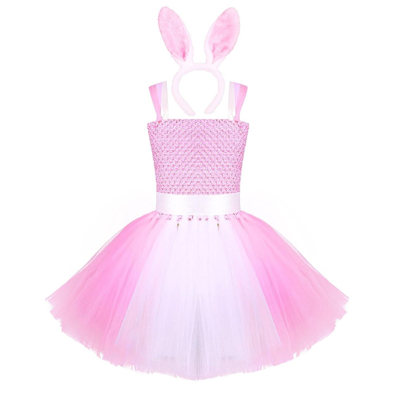 ed5d8a59631a9 IEFIEL Enfant Fille Bretelle Tutu Robe Avec Lapine Bandeau Outfit Fille  Princesses Mignon Costume Cosplay Robe