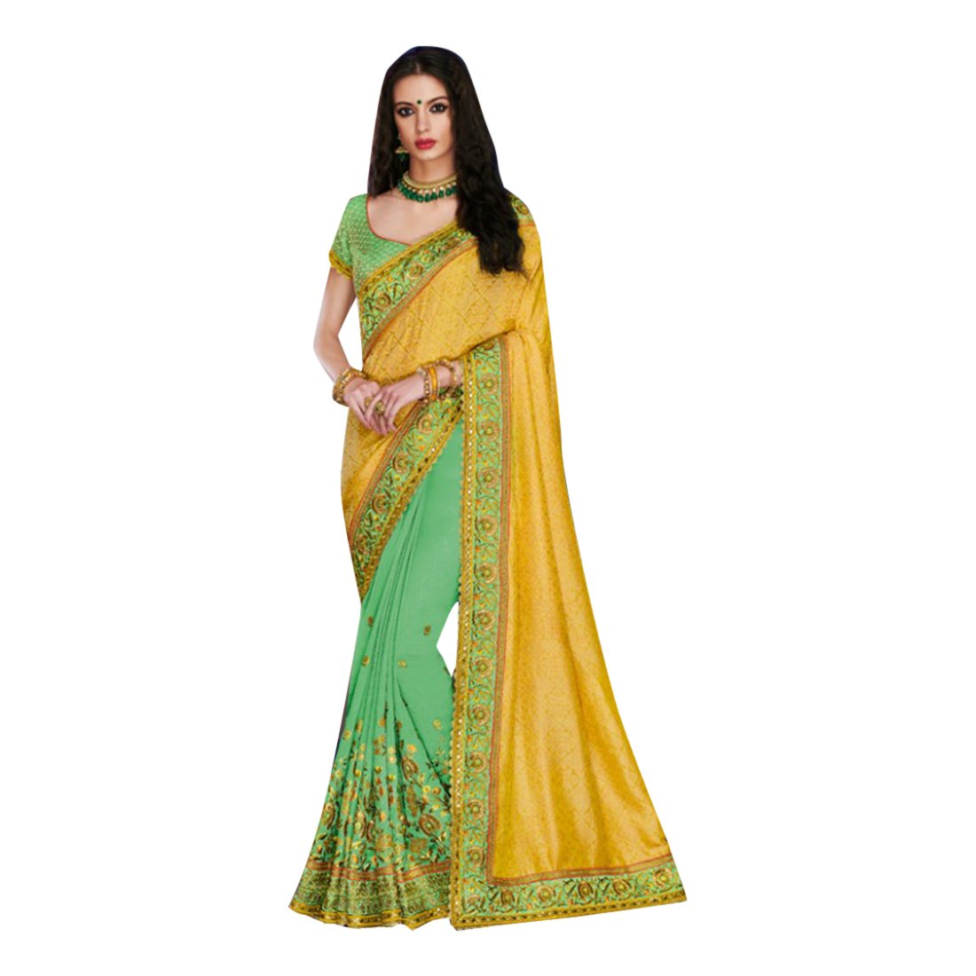 Bollywood Wedding Collection Silk Saree Sari Blouse Designer Muslim Women Indian Ethnic 860