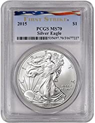 2015 American Silver Eagle $1 MS70 First Strike - Ribbon Flag Label PCGS