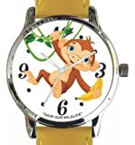 """Save Our Wildlife"" Large Polished Chrome Watch with Yellow Leather Strap has ""Chimpanzee"" image and Donation to the African Wildlife Foundation"